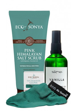 Combo Eco By Sonya Salt Scrub + Exfoliating Glove + Soma Botanicals Vanilla Body Oil