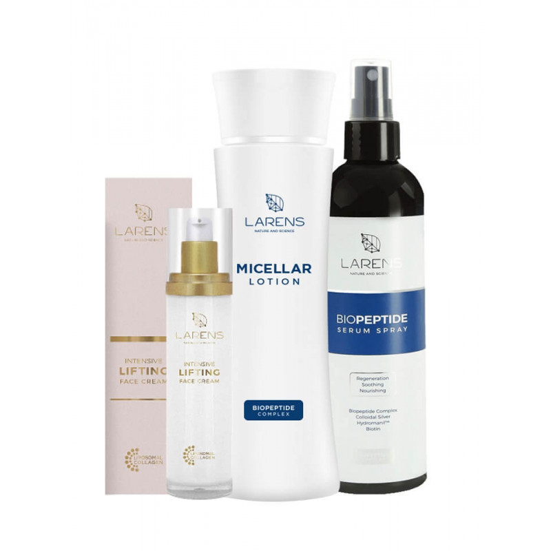 Larens Combo Micellar Lotion + Biopeptide Serum Spray + Lifting Face Cream